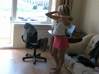 Sexy Blonde Teen Spied Changing Clothes from They Didnt Know